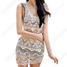 2016 Sexy Women Girls Sexy Hollow Crochet Sleeveless Summer Swimsuit Swimwear Bikini Cover Up Beach Dress One Size 7EY4