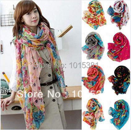 Fast delivery Korean female models Winter Garden Floral scarves shawl scarf sun flowers blooming beach towel shawl Wholesale(China (Mainland))