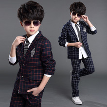 2015 New Boys Formal Suits Weddings Brand England Style 3-15T Boys  Child owl patch Plaid Formal Party Tuxedos Sets D248(China (Mainland))