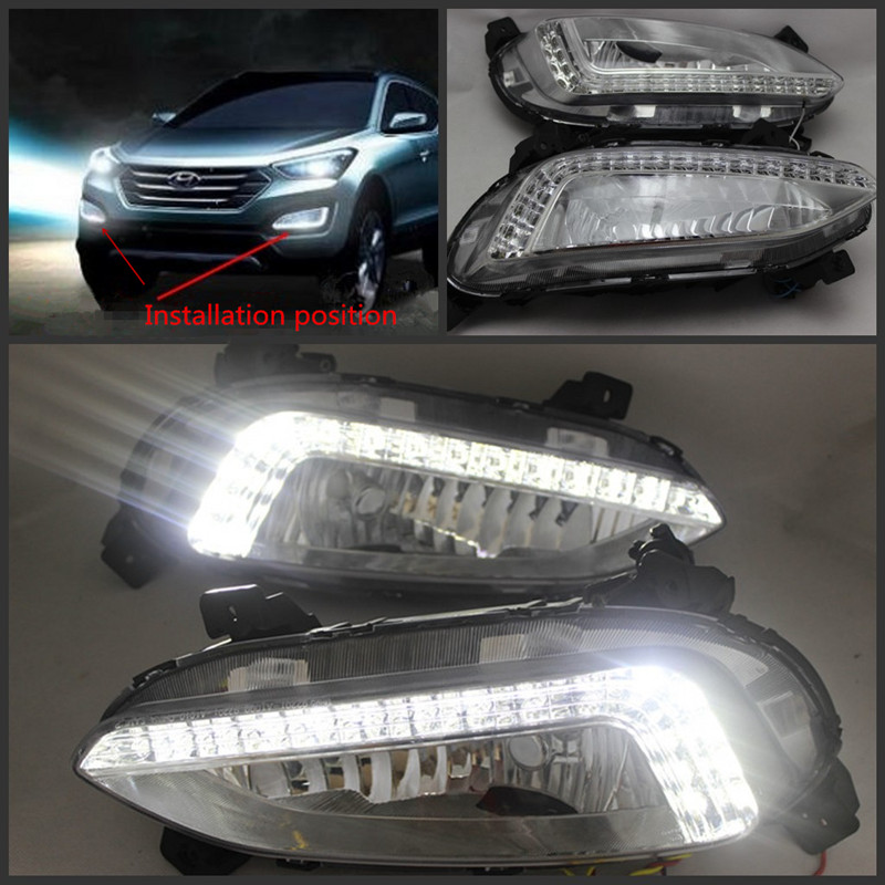 Ultra-bright drl LED Daytime Running Light LED DRL with fog lights For hyundai santa fe ix45 2013 auto accessories<br><br>Aliexpress