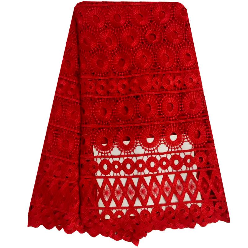 Red Color Wedding Lace High quality Swiss Cotton Guipure lace fabric 5 Yards Nigerian Cord Lace Fabrics For Party(China (Mainland))