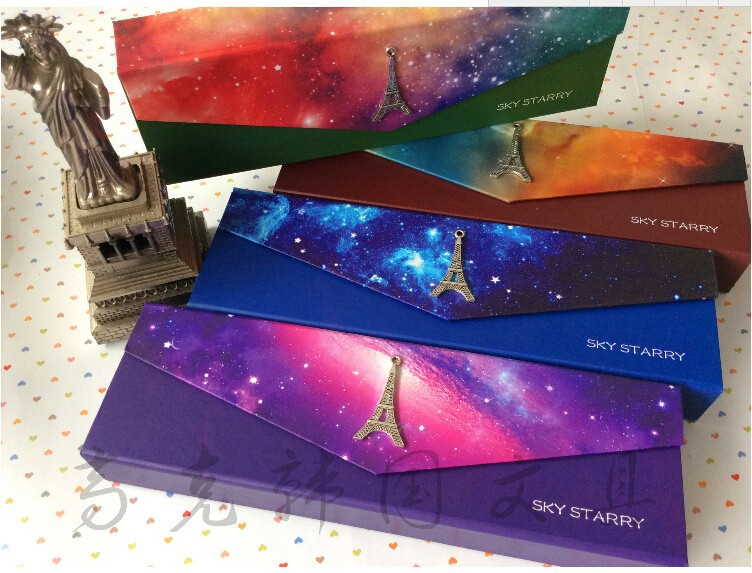 1 pc Paper Pencil case sky starry galaxy metal Eiffel towel box for student Freshness Pen case school supplies Stationery(China (Mainland))