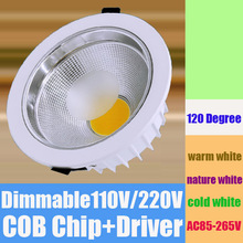 5W 7W 10W 15W 20W 30W 40W LED COB downlight Dimmable Recessed LED Ceiling light Spot Light Lamp White/ warm white led lamp cree(China (Mainland))