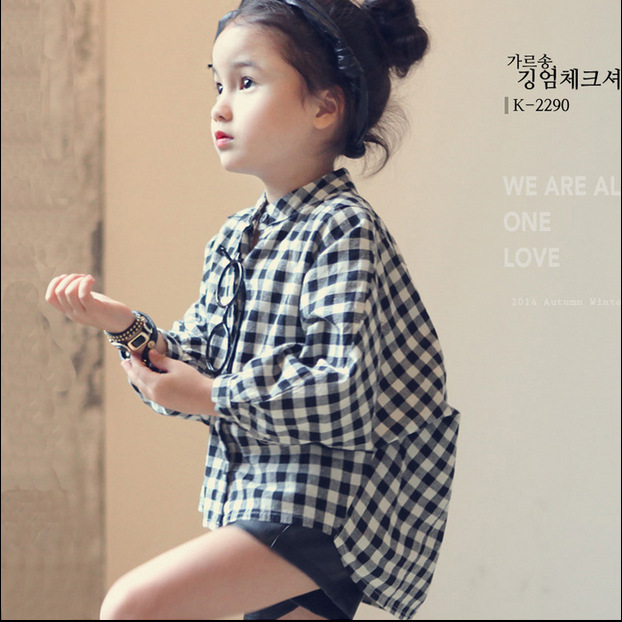 2016 NEW Girl Shirts Black Plaid Long Sleeve Loose Blouse Fashion Little Girls Kids Clothing Children Clothes for 3-10T(China (Mainland))