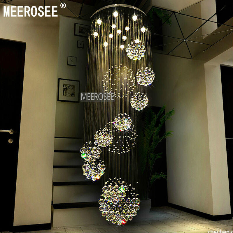 Modern Foyer Names : Modern large crystal chandelier light fixture spiral