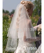 Buy White Ivory 2T Elbow Length Bridal Veils Ribbon Edge Wedding Veil Comb Bride for $6.64 in AliExpress store