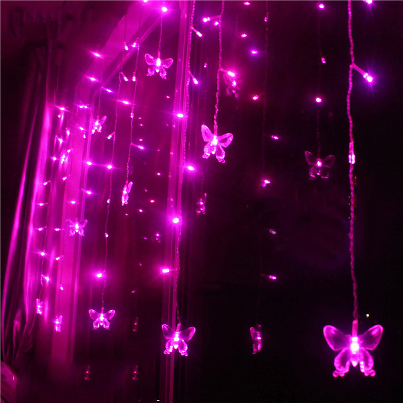 Pink Luminarias Wedding Party Holiday Christmas Outdoor Decoration Lights Curtain Lamps 3.5m 100 LEDs 16p Butterfly(China (Mainland))