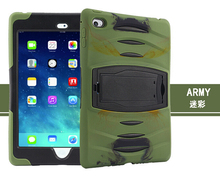 2016 Hot Sale Rugged Hybrid Heavy Duty Cover Case For Apple Ipad Mini 4 Case With Kickstand Shockproof PC&Silicone Conque Capa(China (Mainland))