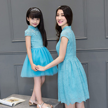 mom and daughter dress family clothing women summer light blue vintage long mesh dress light pink flower girl dresses long qipao