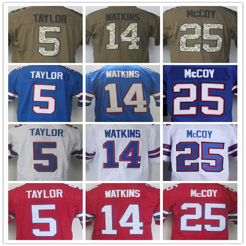 25 LeSean McCoy Jersey Elite #14 Sammy Watkins Jersey 100%Stitched Tyrod Taylor Men's Jerseys Red Blue White Size:M L XL XXL 3XL(China (Mainland))