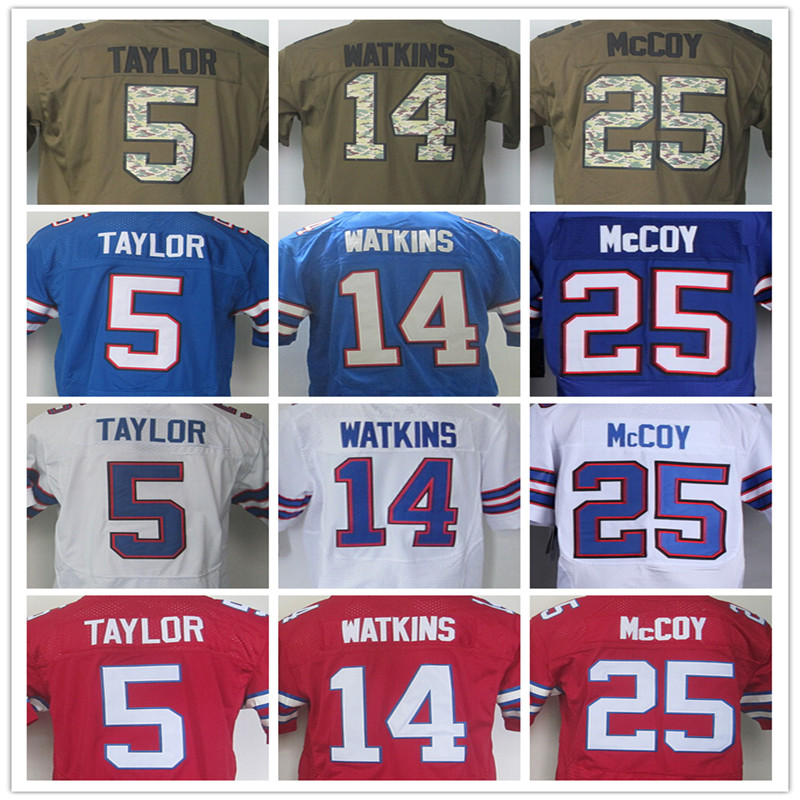 25 LeSean McCoy Jersey Elite #14 Sammy Watkins Jersey 100%Stitched Tyrod Taylor Men's Jerseys Red Blue White Size:M L XL XXL 3XL(China (Mainland))