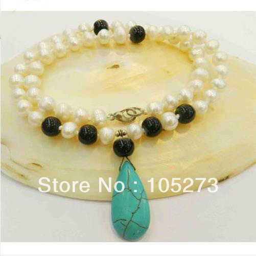 Natural Pearl Jewelry . 18 Inches Long.White Pearl,Black Agate Gem-Stone Necklace Drop-Shaped Blue Turquoise Pendant Necklace