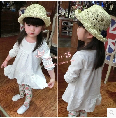Vestidos infantis wear new 2015 spring girls dress blouse shirt in Europe and hollow aesthetic white dresses(China (Mainland))
