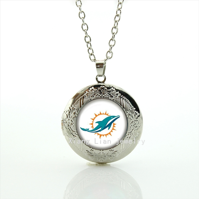 The cute sun and dolphin locket necklace Miami Dolphins team Newest mix 32 NFL team Souvenirs jewelry gift for children NF145(China (Mainland))
