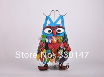 Free shipping Handmade Characteristics Owl Cloth Stitch Backpack Bag For Kids Girls Boys B.G