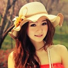 2015 new outdoor Sun Hat women girls summer hats Sun Beach Hat straw hats foldable free shipping(China (Mainland))