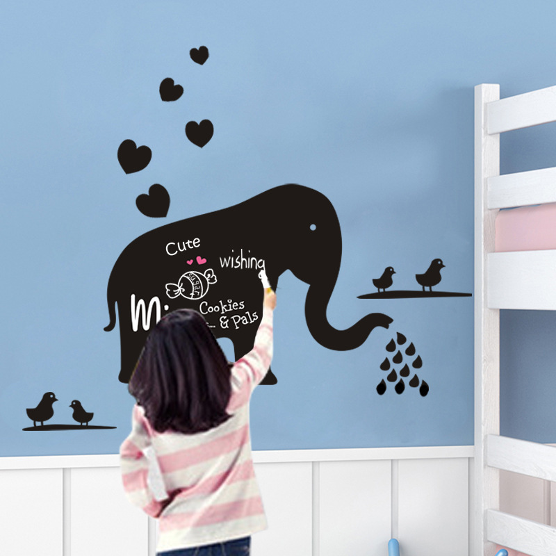 Creative cartoon childrens room nursery background wall stickers pvc removable DLXB010 cute elephant Blackboard stickers<br><br>Aliexpress