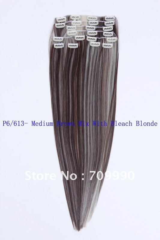 hair products Synthetic clip in on hair extension 10pcs 170g 1set 18 20 22 24 inch P6/613- Medium Brown Mix With Bleach Blonde(China (Mainland))