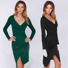 Europe women waist fold asymmetrical design deep V pencil skirt sleeve slim dress