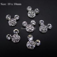 10pcs Mickey head nail design rhinestones glitter for nail decorations DIY scrapbooking charms AM36