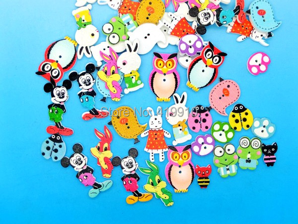 - 15Mixed 2 Holes pattern cartoons Wood Sewing Buttons Scrapbooking M01385 Lovely store