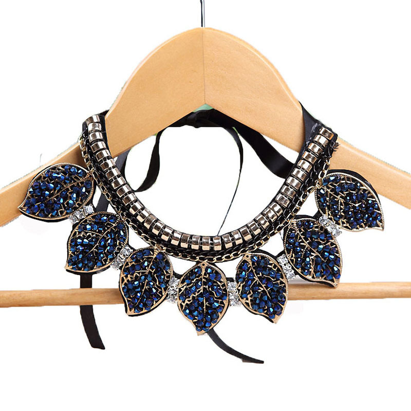 Blue Crystal Leaves Statement Necklace Women Collar Necklaces Pendants Summer Style Jewelry Colar For Gift Party