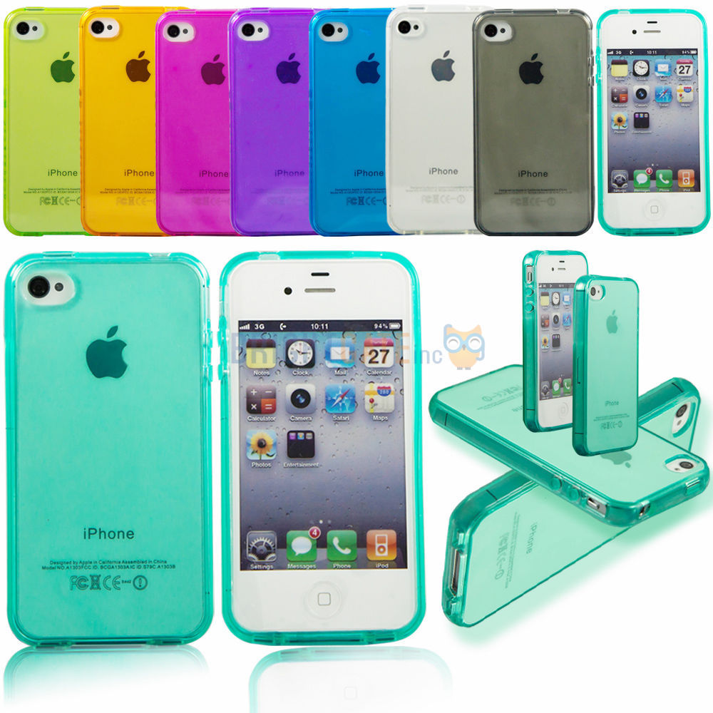 Ultra thin Colorful Transparent CLEAR JELLY TPU Gel Soft Silicone Case Cover Skin Protector For APPLE iPhone 4 4S 4G 5 5S 5G(China (Mainland))