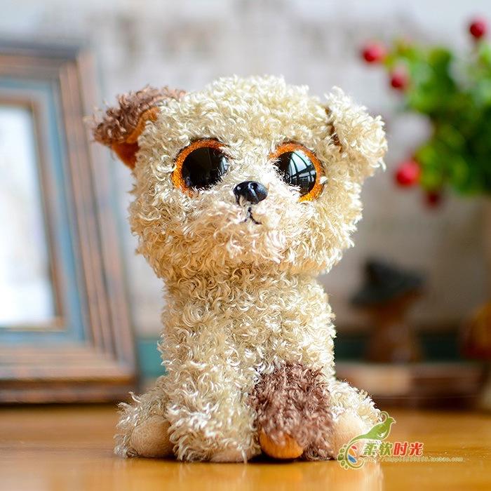 Ty big eyes lovely teddy dog plush toy doll child gift 15cm(China (Mainland))