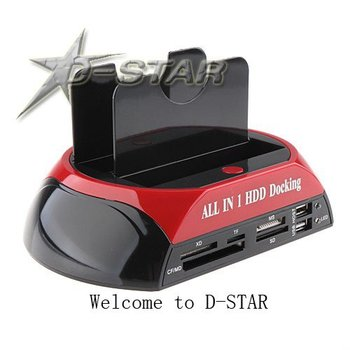 Free Shipping Dual HDD Dock/Docking Station 3.5 and 2.5 Inch IDE/SATA Hard Disk USB + card reader