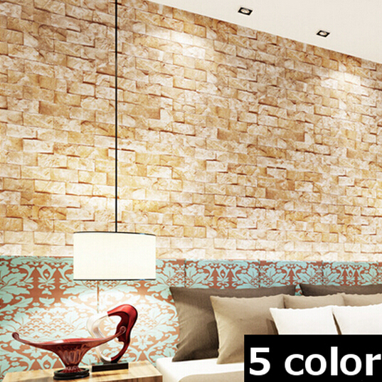 Modern 10m roll stacked brick stone brown grey beige vinyl for Grey brick wallpaper bedroom