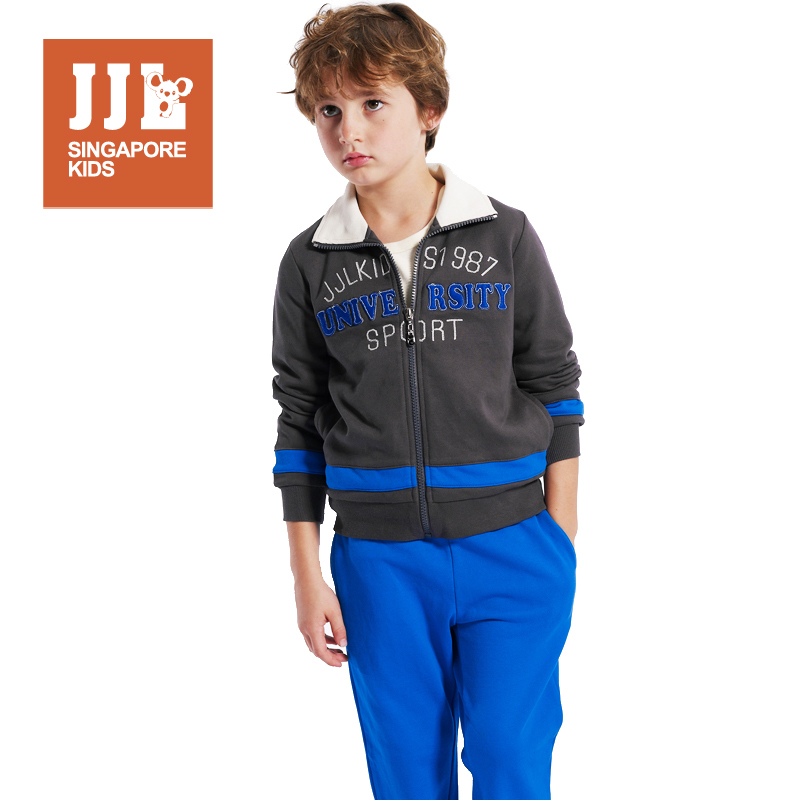 boys suits clothing brand quality 100% cotton comfortable casual tops+pants zipper outcoat elastic convinient letter pattern(China (Mainland))