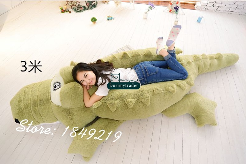 Dorimytrader Biggest 118\`\` 300cm Jumbo Crocodile Toy Plush Soft Stuffed alligator Sofa Tatami Free Shipping DY61038 (3)