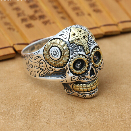 NEW Handmade 925 Silver Skull Ring Male Ring Vintage Thailand Silver Skull Man Ring Pure Silver Male Ring Jewelry Gift(China (Mainland))