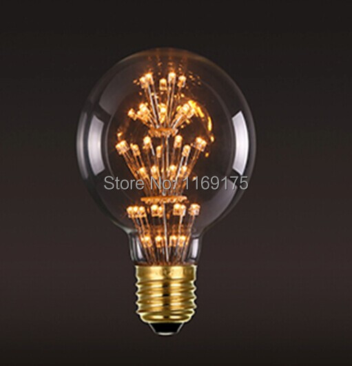 New arrvial 3w 220V 110V G95 led star collection bulb led clear bulb vintage led amber bulb with CE FCC RoHS(China (Mainland))