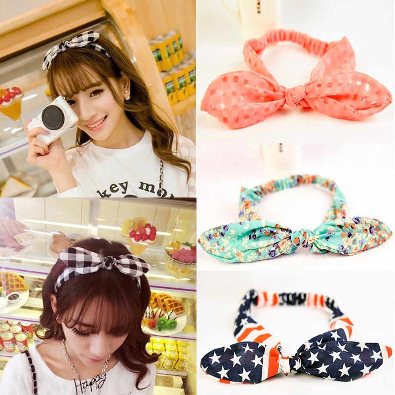 2017 New Girls Bowknot Headbands Korean Style Rabbit Ears Lady Women Fabric Hairbands Holders Accessories Fashion Free Shipping(China (Mainland))