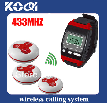 DHL Free Shipping 433.92mhz Calling system of  3pcs watch pager with 60pcs Call buttons Guest paging system