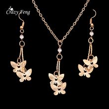 Fashion Jewelry Sets 18K Gold Plated Metal Butterfly Dangle Pendant Necklace Earrings with CZ Crystal 1 Set=Necklace+Earrings(China (Mainland))
