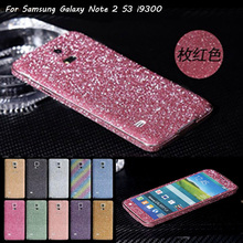 Luxury PVC Bling Rhinestone Sparkly Film Case For Samsung Galaxy Note 2 II N7100 Front And Back Screen Protector Guard For i9300(China (Mainland))