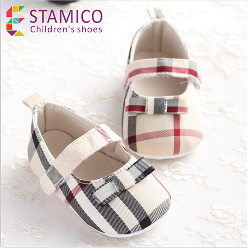 Hot Selling Baby font b Plaid b font Shoes Infants Girl Boy Soft Sole First Walker