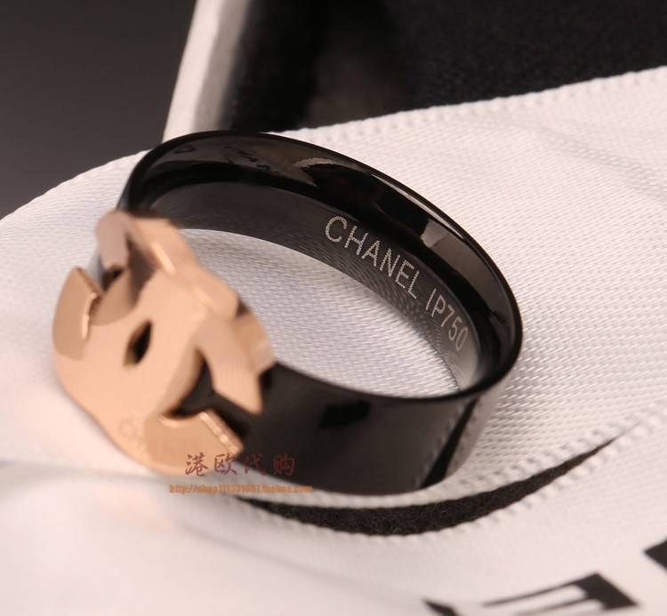 Fashion black titanium steel 18K rose gold rings for women girl index finger tail ring for lovers female models fine jewelry(China (Mainland))