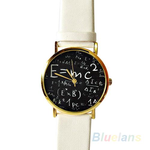 Mens Womens Numerals Mathematical Symbol Faux Leather Band Quartz Wrist Watch <br><br>Aliexpress
