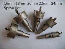 5 unids = 1 lote 16 / 18 / 20 / 22 / 24 mm acero de tungsteno núcleo broca agujero metal de la aleación de diámetro fijo 10 mm utilización de acero inoxidable especial