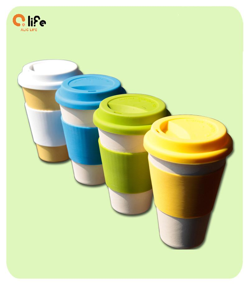 Hot Eco Cup Ceramic Coffee Tea Cup Mugs With lid Healthy Bamboo Fiber Drinkware Eco Friendly Outdoor Travelling Cups and Mugs(China (Mainland))