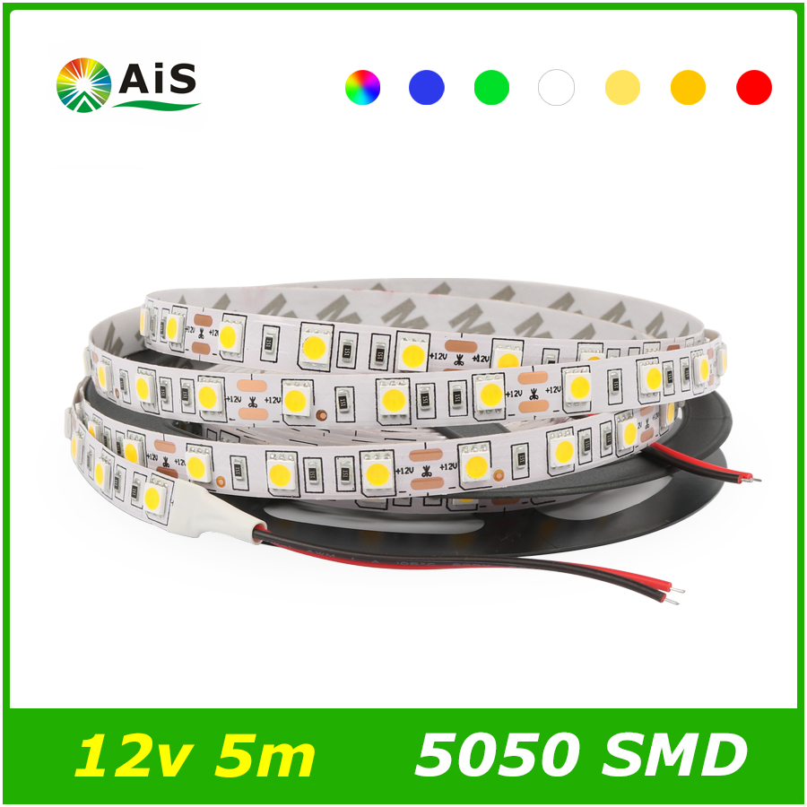 DC12V 5050 LED Strip non-waterproof 60leds/m 5m/roll LED strip 5050 white/warm white/blue/red/green(China (Mainland))