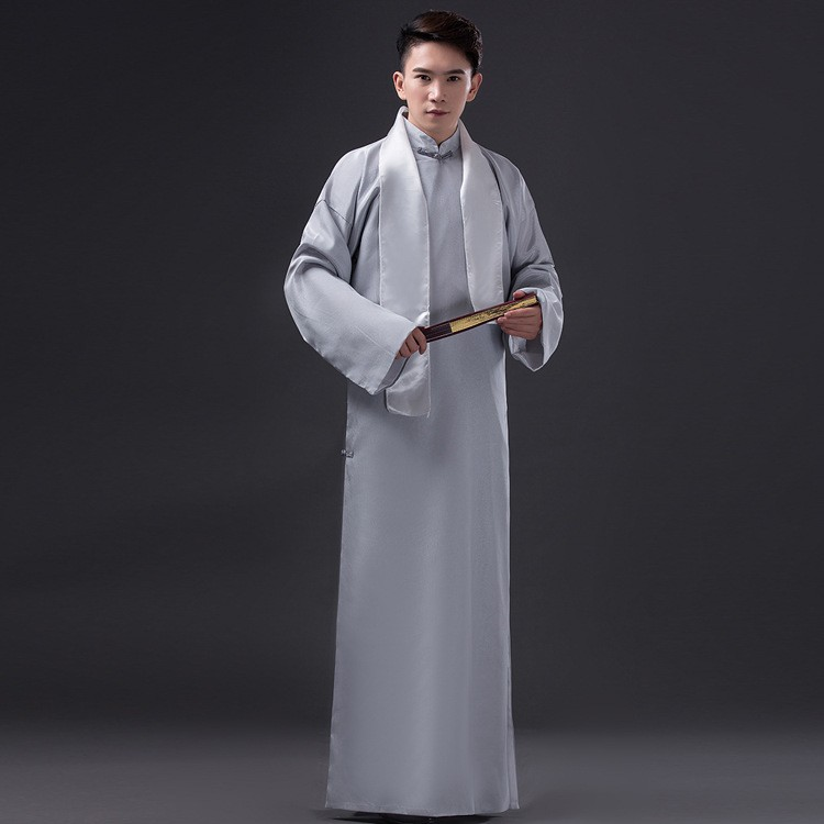 Men Long Gown Chinese Ancient Mandarin Robe Costume Stage Dress with White Scarf