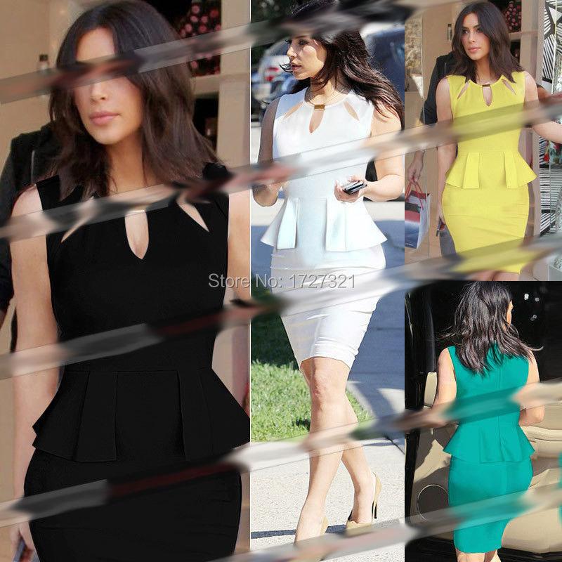 Summer Style 2015 New Arrival Kim Kardashian Slim Models Flounced Ol Sexy Dress Hollow Deep V