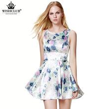 WISHCLUB 2015 Women Casual Floral Print European Style Vest Vintage Gril Slim Dresses Female Clothing Vestidos Desigual Dress