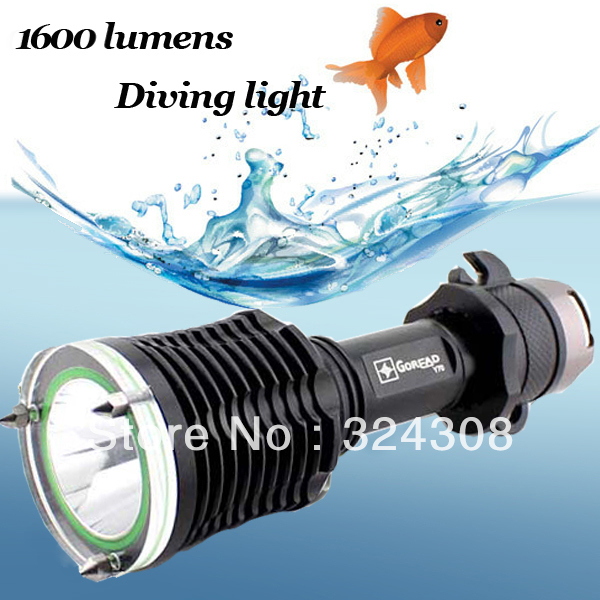 1600Lm 100m Diver Diving CREE XM-L LED Flashlight Torch Waterproof Light Lamp free shipping