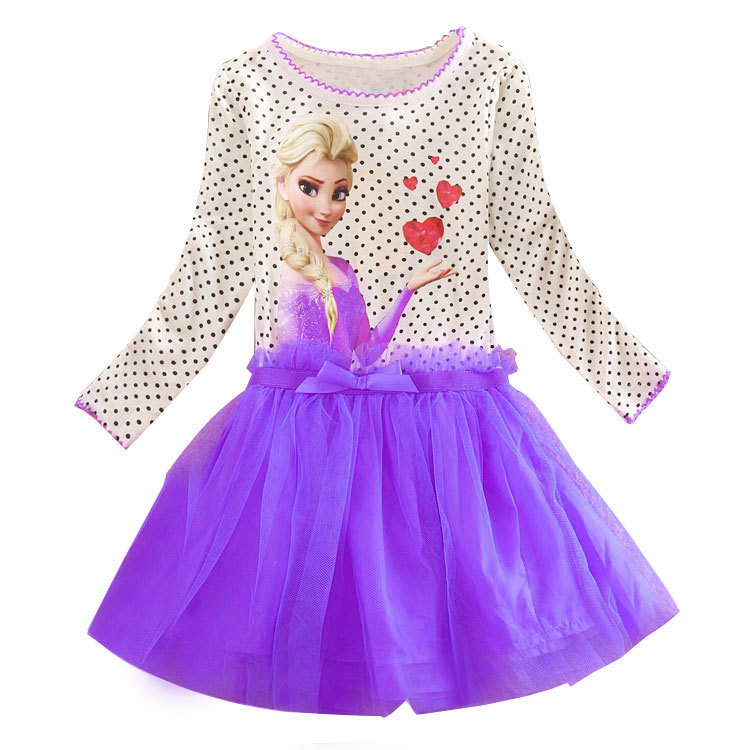 2015 Brand Kids Baby Girls Princess Dress Elsa's and Anna's girl dresses princess elsa anna patterns dress Girls party dress(China (Mainland))