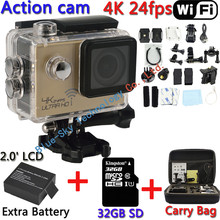 [32GB+Bag+Extra Battery] 4K 24fps SJ8000 Sports Action Video Camera DV Novatek 96660 WiFi 2.0inch LCD Diving Action Helmet Cam